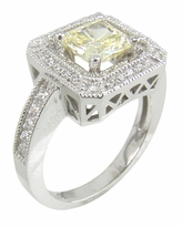 Townsend 1 Carat Princess Cut Canary Cubic Zirconia Pave Set Halo Solitaire Engagement Ring