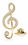 Treble Clef Music Note Pave Set Cubic Zirconia Lapel Pin