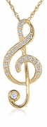 Treble Clef Music Note Pave Set Round Cubic Zirconia Pendant