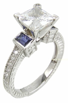Trevora 1.5 Carat Princess Cut Cubic Zirconia Emerald Step Cut Man Made Sapphire Engagement Ring