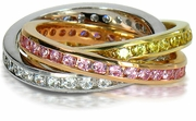 Tri Color Channel Set Round Cubic Zirconia Rolling Ring Trinity Wedding Eternity Band