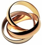 Tri-Color Rolling Ring Trinity Ring Russian Wedding Ring Band