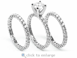 Tribecca Round Cubic Zirconia Three Ring Eternity Stacking Wedding Set