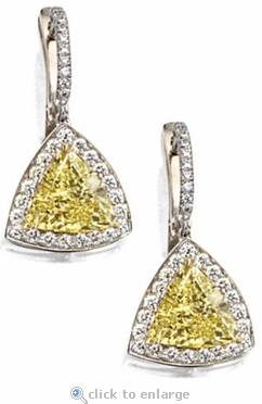 Trident 3.5 Carat Trillion Cubic Zirconia Pave Halo Drop Earrings