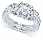 Trifecta 1.5 Carat Round Cubic Zirconia Three Stone Wedding Set