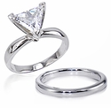 Trillion Classic Cubic Zirconia Solitaire Engagement Rings with Matching Wedding Bands