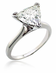 Trillion Triangle Cubic Zirconia Cathedral Solitaire Engagement Rings