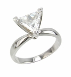 Trillion Triangle Cut Cubic Zirconia Solitaire Engagement Rings
