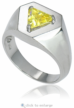 Trillionaire Triangle Trillion Cubic Zirconia Man's Ring