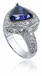 Trillium 3.5 Carat Trillion Cubic Zirconia Pave Halo Solitaire Engagement Ring