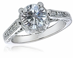Trinity Antique Estate Cathedral Style Cubic Zirconia Pave Solitaire Engagement Ring