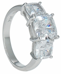 Trio 2.5 Carat Cushion Cut Square Cubic Zirconia Three Stone Ring