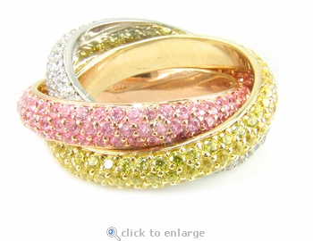 Trio Tri Color Pave Cubic Zirconia Intertwined Wedding Eternity Band