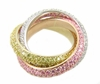 Trio Tri Color Pave Set Cubic Zirconia Rolling Trinity Ring Russian Wedding Ring Eternity Band
