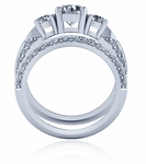 Tripoli 1 Carat Round Three Stone Double Row Micro Pave Knife Edge Cubic Zirconia Wedding Set