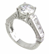 Triumph Round Engraved Antique Estate Style Channel Set Cubic Zirconia Solitaire Engagement Ring