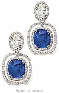 Tupello 8.5 Carat Cushion Cut Cubic Zirconia Oval Pave Halo Drop Earrings