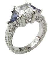 TV Show FRIENDS Inspired 1.5 Carat Princess Cut Cubic Zirconia Man Made Sapphire Trillion Estate Style Antique Solitaire