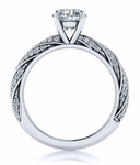 Twisted Pave Solitaire 1.5 Carat Round Cubic Zirconia Engagement Ring