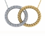 Twisted Rope Pave Interlocking Circles Couples Marriage Necklace