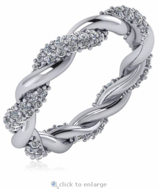 Twisted Woven Pave Set Cubic Zirconia Eternity Wedding Band