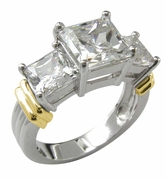 Two Tone 2.5 Carat Princess Cut Cubic Zirconia Three Stone Engagement Ring