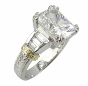 Two Tone 4 Carat Emerald Cut Cubic Zirconia Baguette Solitaire Engagement Ring