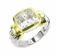 Two Tone Bezel Set 4 Carat Cubic Zirconia Cushion Cut Ribbed Shank Style Solitaire Engagement Ring
