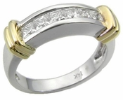 Two Tone Channel Set Princess Cut Cubic Zirconia Wedding Band