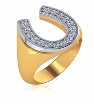 Two Tone Horseshoe Pave Set Cubic Zirconia Mens Ring