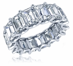 Umera .75 Carat Emerald Step Cut U Shaped Shared Prong Cubic Zirconia Eternity Wedding Band