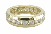 Unisex Channel Set Round Cubic Zirconia Eternity Band