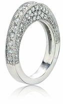 Uphill Pave Cubic Zirconia Milgrain Wedding Ring Anniversary Band