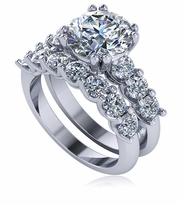 Ursula 2.5 Carat Round Scalloped Shared U Prong Set Cubic Zirconia Solitaire and Matching Band Wedding Set