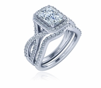 Valeria 1.5 Carat Emerald Cut Crossover Pave Cubic Zirconia Contoured Wedding Set