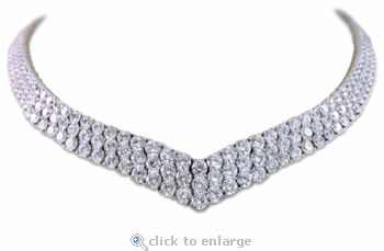 Vanderbilt Cubic Zirconia Round Three Row Pointed V Statement Bib Necklace