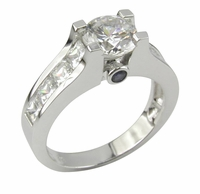 Varouj 1 Carat Round Cubic Zirconia Channel Set Princess Cut Bezel Sapphire Engagement Ring
