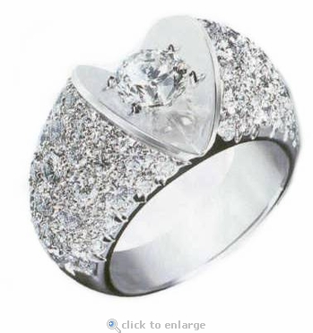 Vejay 1 Carat Round Cubic Zirconia Pave Domed Solitaire Engagement Ring