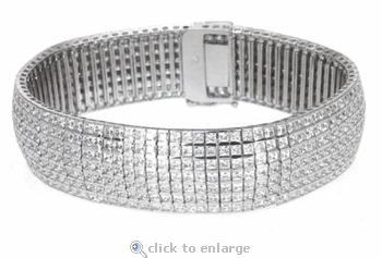Vendome Flexible Princess Cut Square Channel Set Cubic Zirconia Bracelet