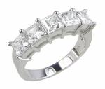 Veneto Five Stone Cubic Zirconia Princess Cut Anniversary Band