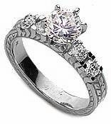 Verage 1 Carat Round Cubic Zirconia Engraved Estate Style Antique Solitaire
