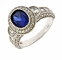 Veranda 1 Carat Cubic Zirconia Halo Lab Created Oval Sapphire Center Antique Estate Style Engagement Ring