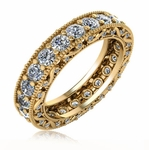 Versailles Round Cubic Zirconia Milgrain Scroll Estate Style Wedding Eternity Band