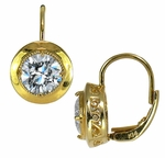 Victannia 1.5 Carat Round Cubic Zirconia Bezel Lever Back Drop Earrings