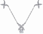 Victoria Round and Marquise Cubic Zirconia Flower Motif Necklace 14K White Gold