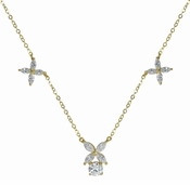 Victoria Round and Marquise Cubic Zirconia Flower Motif Necklace 14K Yellow Gold