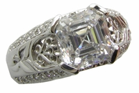 Victorian 2.5 Carat Asscher Cut Cubic Zirconia Pave Set Round Engraved Engagement Ring