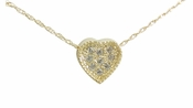 Victorian Heart Pave Set Round Cubic Zirconia Pendant