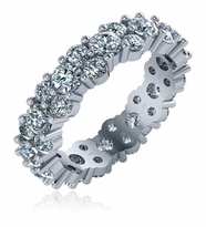 Vienna Alternating Single Double Shared Prong Set Round Cubic Zirconia Eternity Band