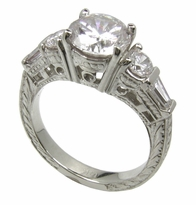 Vintage Glory 1.5 Carat Round Center Cubic Zirconia Baguette Engraved Antique Estate Style Ring